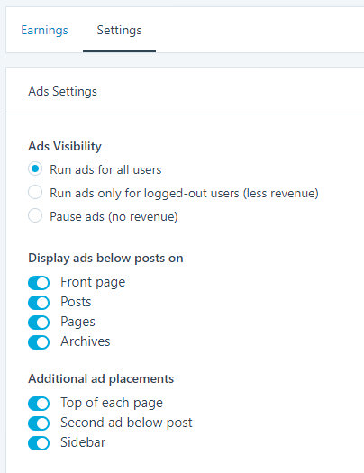 WordPress WordAds Settings