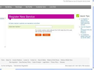 Register New Service - Reliance Netconnect+
