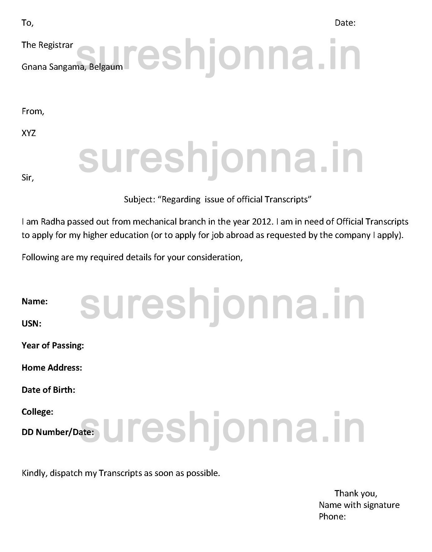 Transcript Request Letter Sample Sureshjonna In