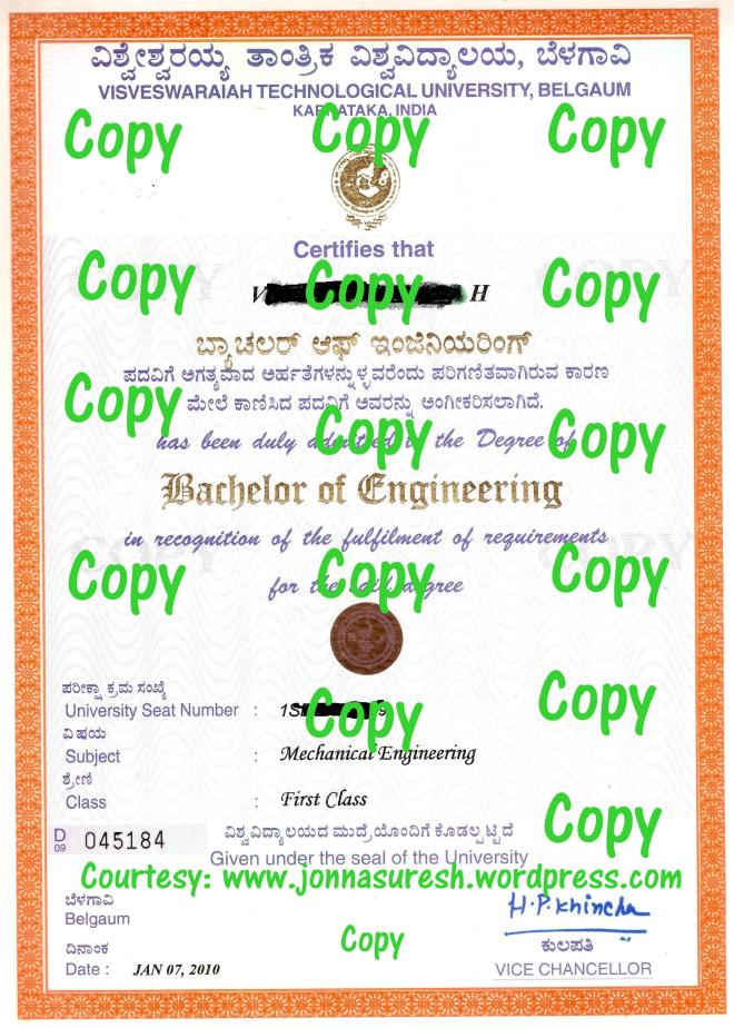 VTU Degree Certificate