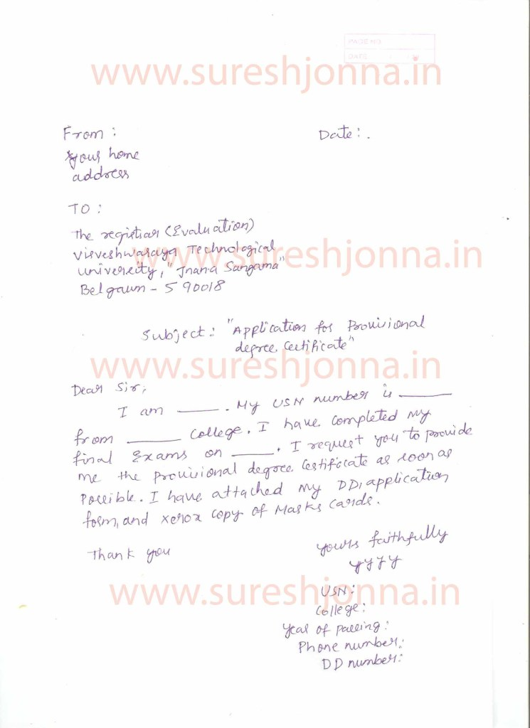 How to get vtu provisional degree certificate pdc sample letter to registrar requesting vtu pdc yadclub Choice Image