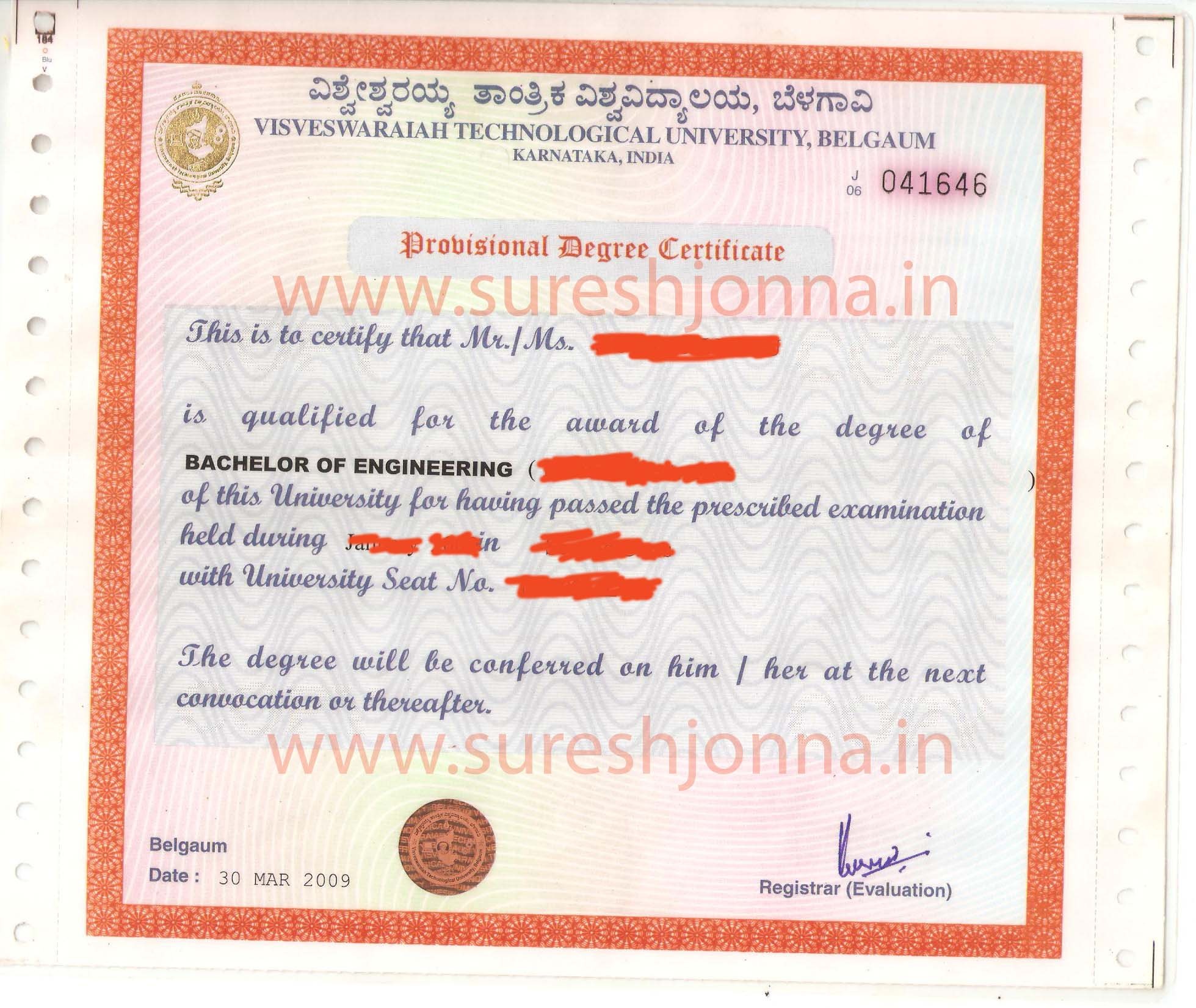 sample-provisional-degree-certificate Provisional Degree Certificate Application Form Vtu on guyana birth,