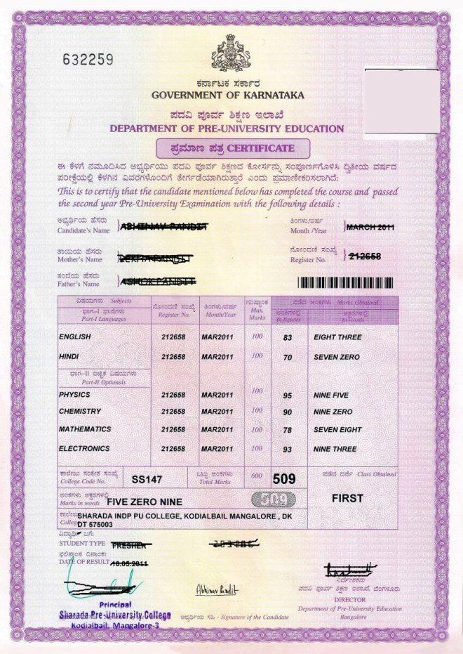 2nd PUC Karnataka Marks Card Format