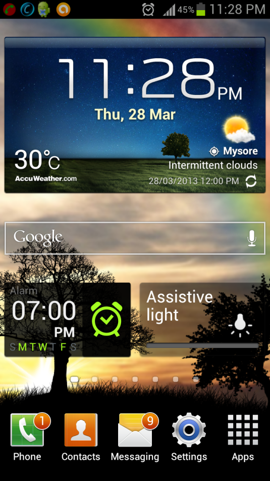 My Phone screen on Samsung S3