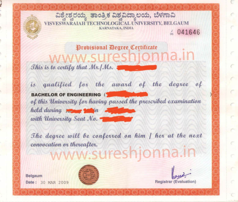 Sample VTU Provisional Degree Certificate