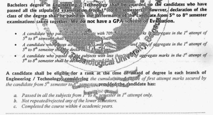 Visvesvaraya Technological University BE Transcript Backside