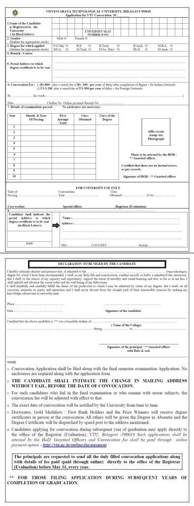 VTU Convocation Degree Certificate Application Form