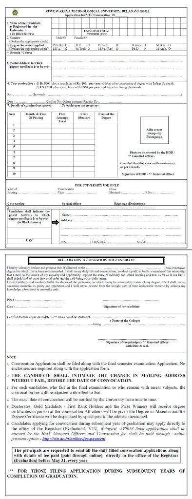 VTU Convocation Degree Certificate Application Form