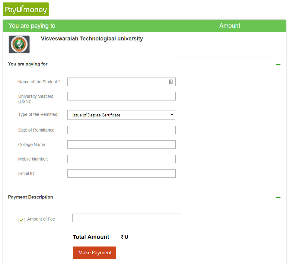 VTU Convocation Degree Certificate Payment Portal
