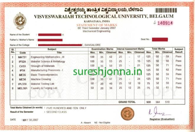 3rd Sem Marks Card