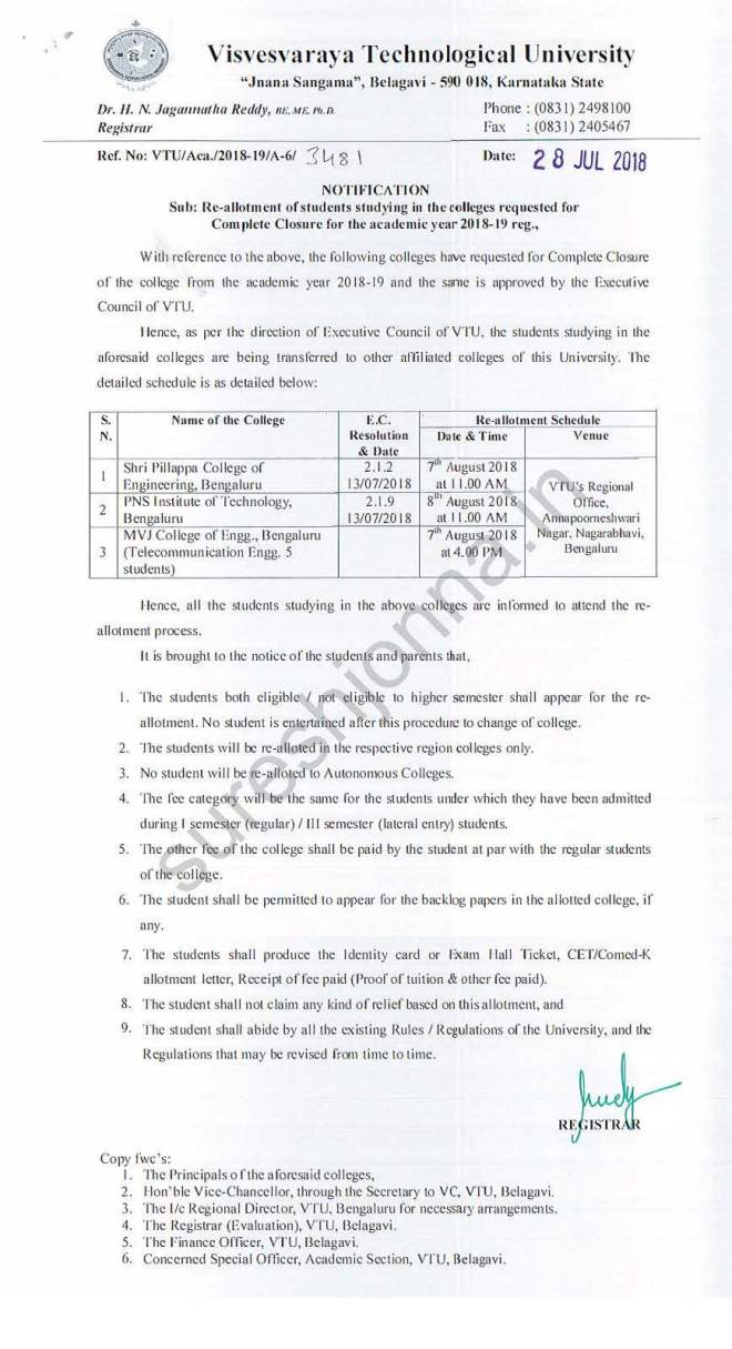 Re-allotment of students studying in the closed colleges