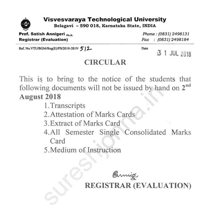VTU Certificates Not Issued on Monday, August 2