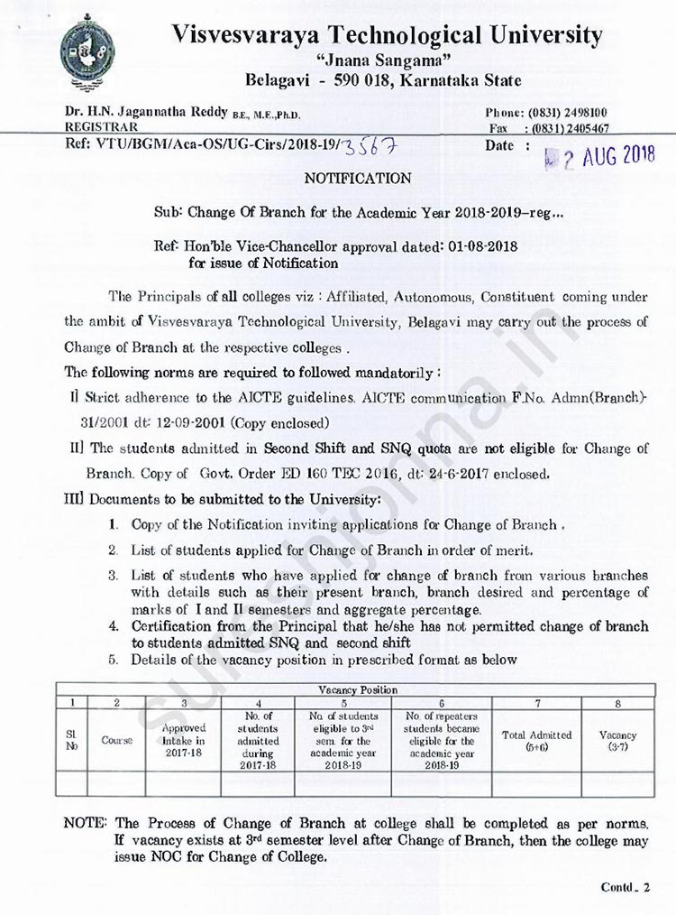 VTU Update: How to Change Branch After 1st Yr in VTU 2018-19