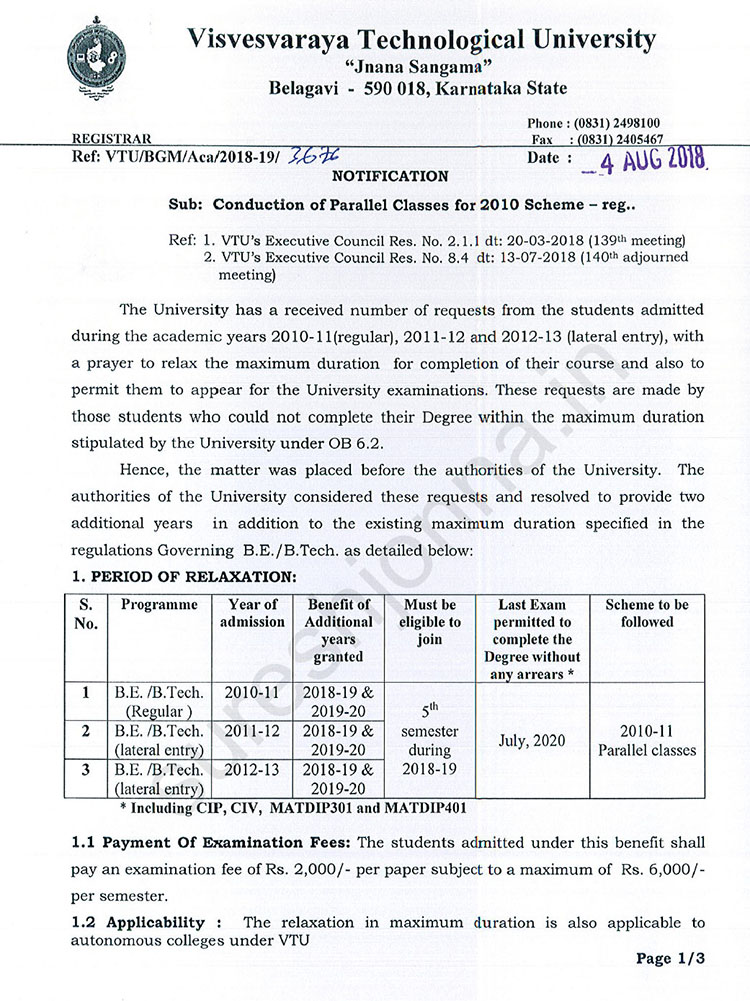 Maximum Duration for Completion of VTU B.E. Programme Extended